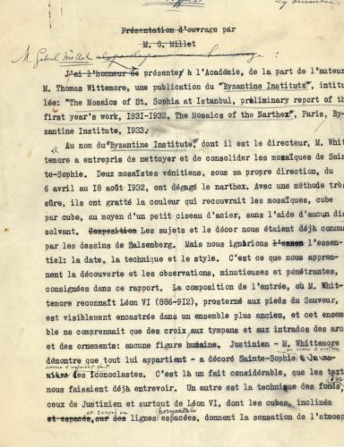 Introduction of Thomas Whittemore by Gabriel Millet. Fonds Gabriel Millet, 1845-1953, 51 CDF 10-8, Archives, Collège de France.