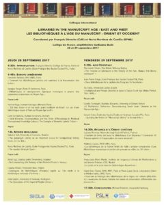 Les bibliothèques à l'âge du manuscrit : Orient et Occident (affiche)