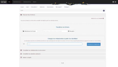 Capture d'écran du CCSD pour le versement de document dans HAL