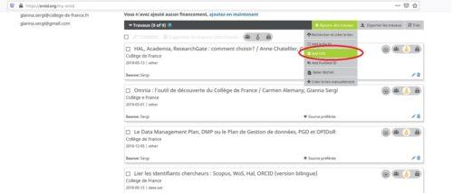 capture d'écran de l'import des métadonnées sur ORCID via le DOI